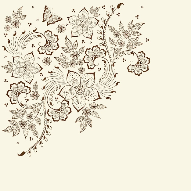 illustration of mehndi ornament Free Vector