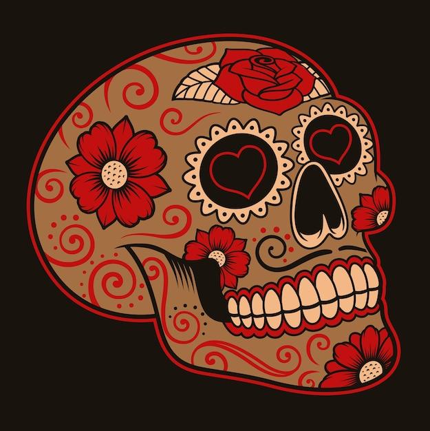 Иллюстрация мексиканского сахарного черепа на темном фоне. каждый цвет находится в группе Premium векторы