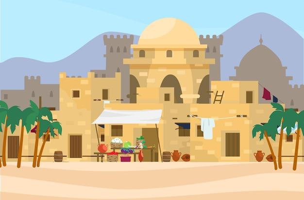 Иллюстрация ближневосточного городского пейзажа с традиционными домами, рынком и замком на заднем плане. Premium векторы