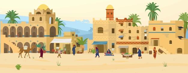 Иллюстрация ближневосточной сцены. древний арабский город в пустыне с традиционными домами и людьми из сырцового кирпича. азиатский базар. Premium векторы