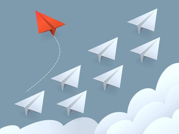 Иллюстрация минималистского стиля красного самолета, меняющего направление и белые. Premium векторы