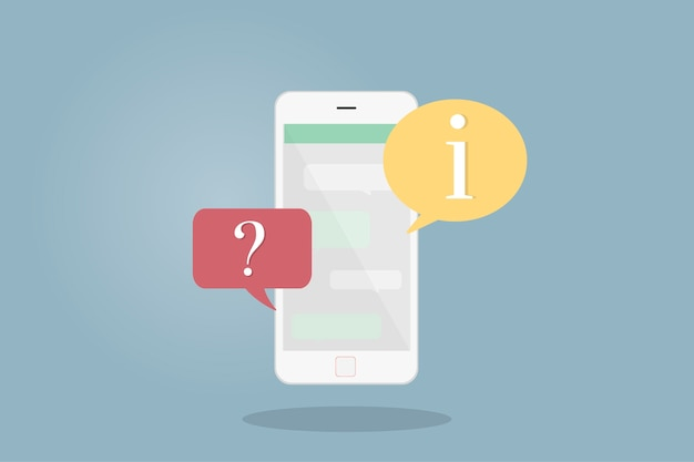 Illustration of mobile phone with speech bubbles Free Vector