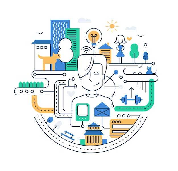 Peolpe、建物および他のインフォグラフィック要素を持つ近代的なライン都市構成のイラスト Premiumベクター