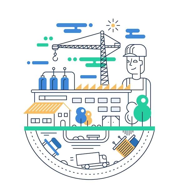 人、工場の建物、産業のインフォグラフィック要素を持つ近代的なライン都市構成のイラスト Premiumベクター