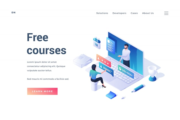 Иллюстрация современного дизайна веб-сайта с изометрическим человеком, обучающимся онлайн на источнике бесплатных курсов, изолированном на белом фоне Premium векторы