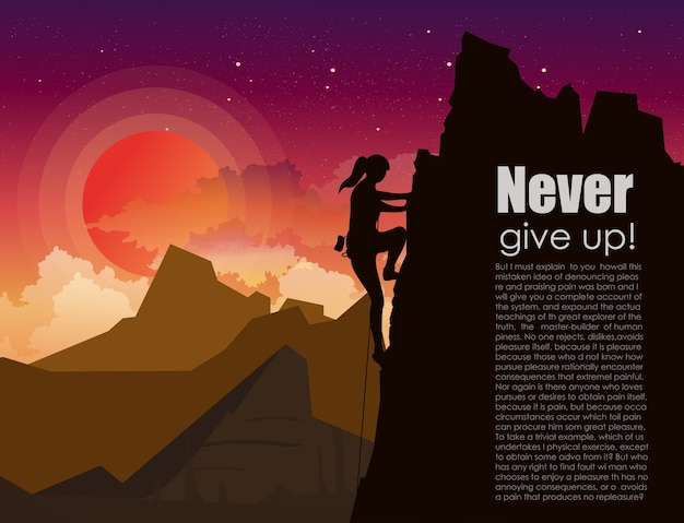 の星と雲の背景と夕焼け空の山の岩の登山女性のイラスト。テキストのための場所でフラットスタイルの動機概念。 Premiumベクター