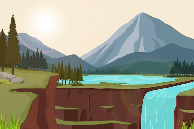 호수와 폭포와 산의 자연 경관의 그림 프리미엄 벡터
