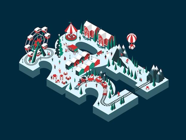 Иллюстрация нового 2021 года. счастливые люди веселятся и празднуют зимние праздники. Premium векторы