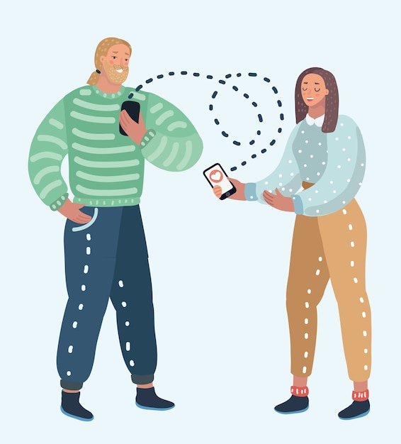オンライン出会い系サービス、仮想コミュニケーション、インターネットでの愛の検索のイラスト。男性と女性のキャラクター+ Premiumベクター