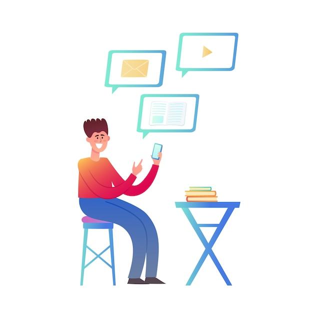 Иллюстрация онлайн образования или бизнеса, изолированных на белом. компьютер с видео уроком и сидящий молодой человек - студент в модном неоновом стиле с использованием растений для плаката, веб-сайта, брошюры Premium векторы