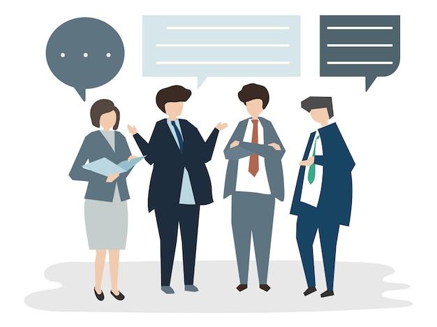Illustration of people avatar business meeting\ conceptbrain