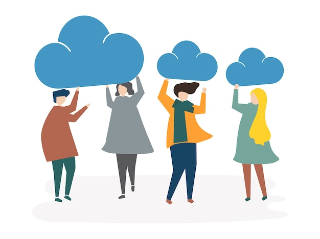 Illustration of people avatar cloud connection\ concept
