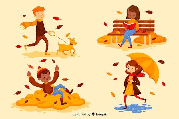 Иллюстрация людей в осеннем парке Бесплатные векторы