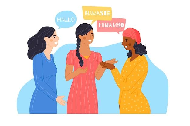 Иллюстрация людей, говорящих на разных языках Бесплатные векторы