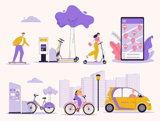 レンタルサービスを利用している人のイラスト。スケートボード、キックスクーター、自転車、電気自動車。車のモバイルアプリを検索、レンタルします。都市インフラ、ライフスタイル、環境に優しいエコ輸送 Premiumベクター