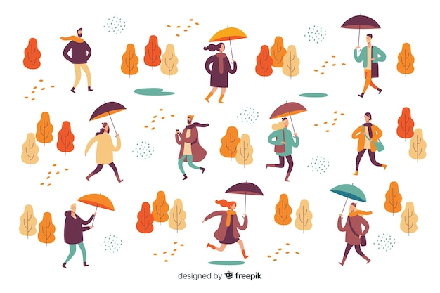 Иллюстрация людей, идущих в осень Бесплатные векторы