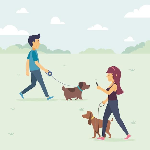 Иллюстрация людей, гуляющих с собакой Бесплатные векторы