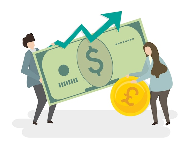 Illustration of people with money Free Vector