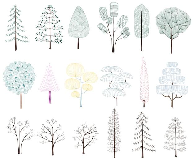 Иллюстрация коллекции сосен Бесплатные векторы