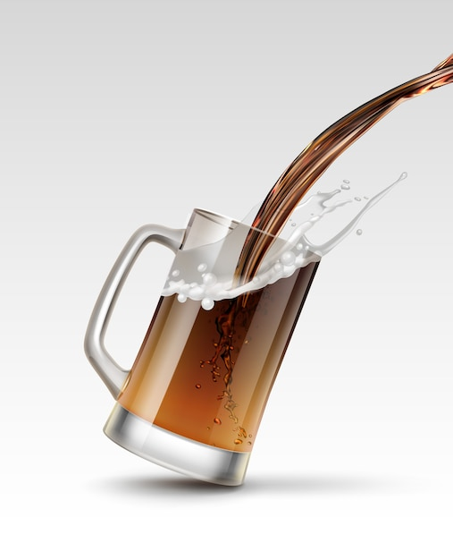 Иллюстрация наливания пива в стакан брызги напитка в изолированной кружке Premium векторы