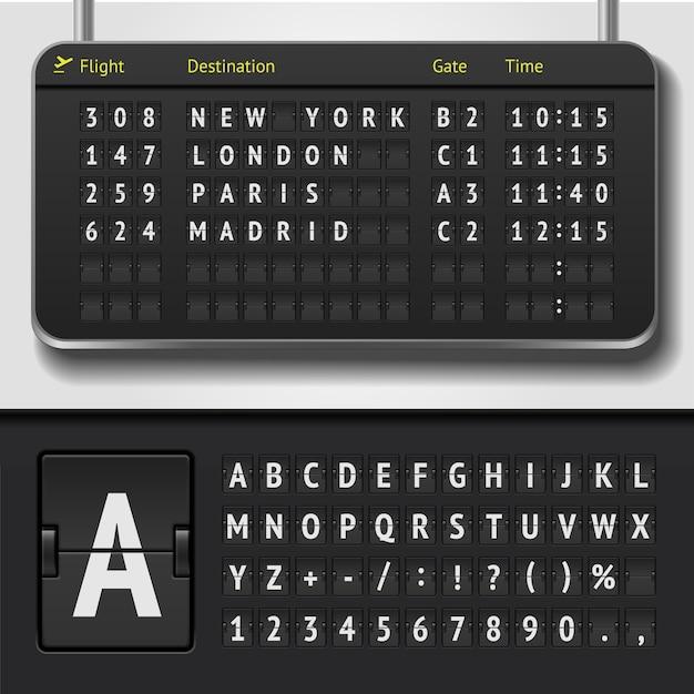 현실적인 공항 시간표 및 점수 판 알파벳의 그림 프리미엄 벡터