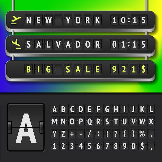 現実的な空港の時刻表とスコアボードのアルファベットのイラスト Premiumベクター