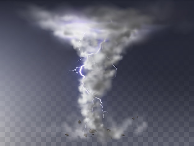 Иллюстрация реалистичного торнадо с молнией, разрушительный ураган Бесплатные векторы