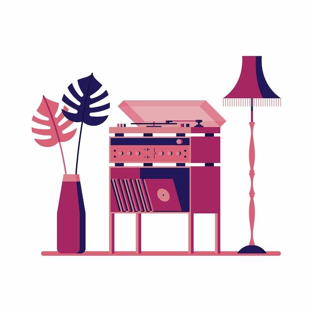 Иллюстрация проигрывателя и растения с лампой. белый фон. Premium векторы