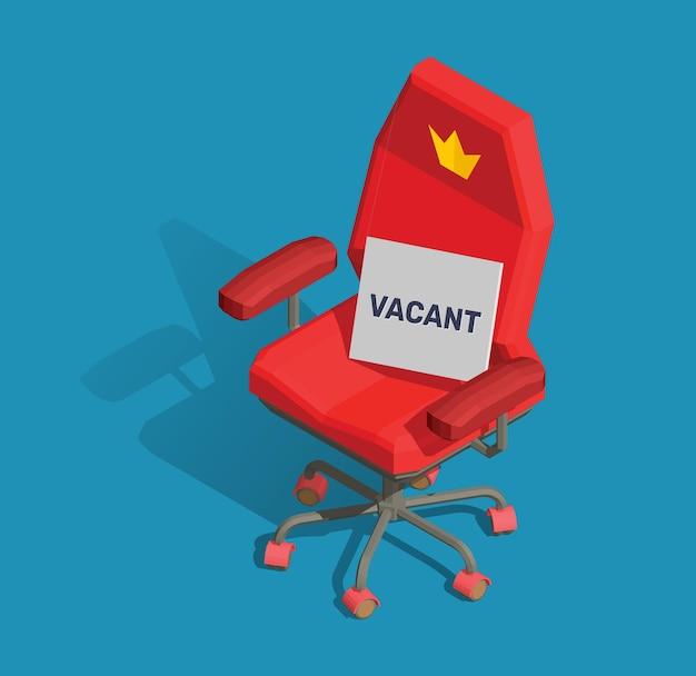 Иллюстрация красного офисного кресла с табличкой и текстом, свободным на синем фоне. Premium векторы