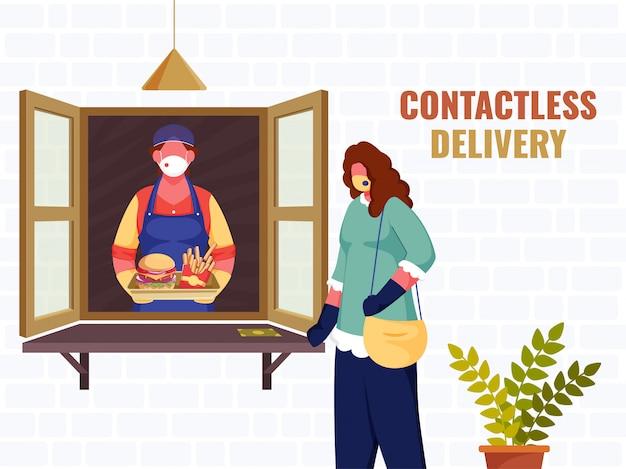 Иллюстрация женщины-покупателя, отдающей продуктовую посылку покупателю из окна во время концепции бесконтактной доставки коронавируса. Premium векторы