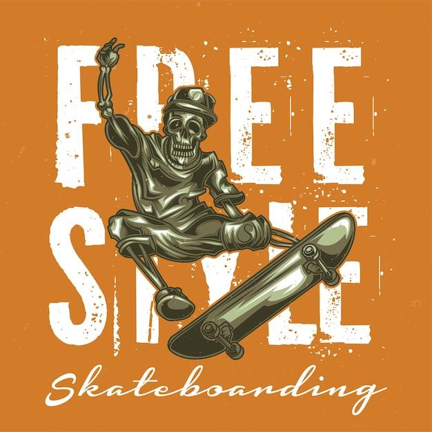 スケートボードのスケルトンのイラスト 無料ベクター