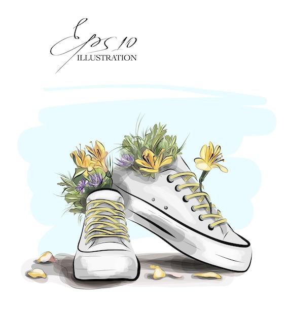 花と葉のスニーカーのイラスト Premiumベクター