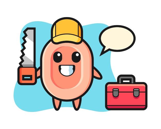Иллюстрация мыльного персонажа как столяр, милый стиль для футболки, стикер, логотип Premium векторы