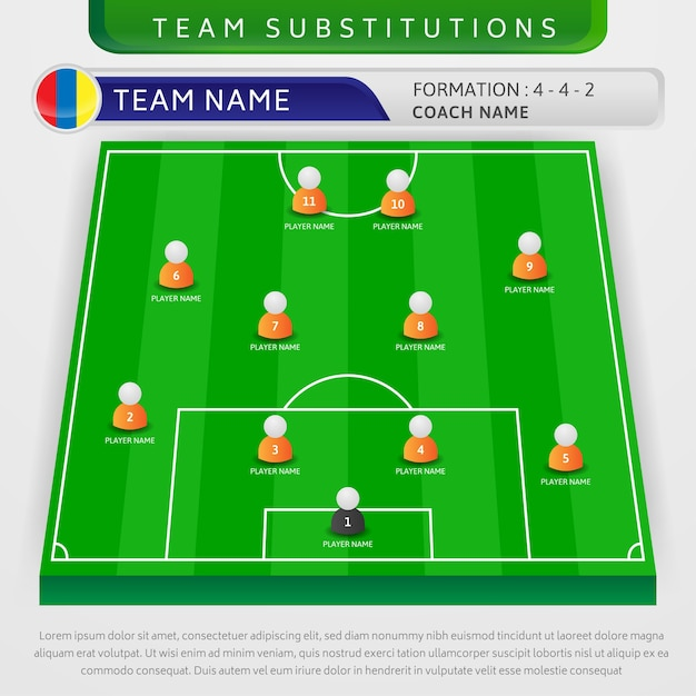 Illustration Of Soccer Team Substitutions Strategy Template Premium Vector