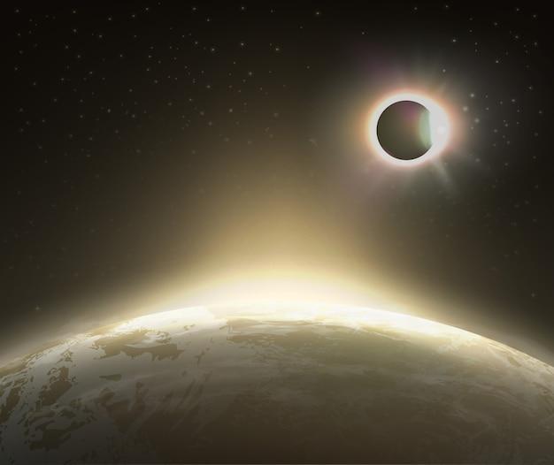 배경에 지구와 우주에서 일식보기의 그림 프리미엄 벡터