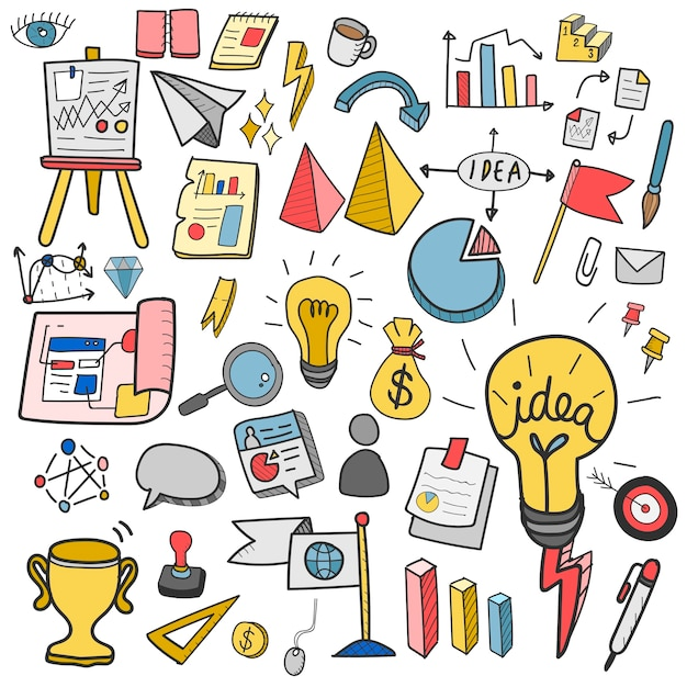 Illustration of startup business doodle collection Free Vector