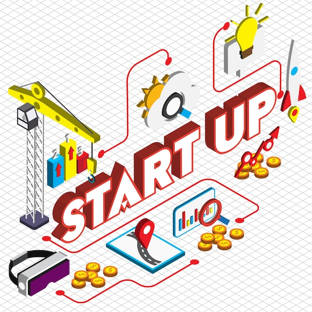 Illustration of startup concept in isometric graphic Free Vector