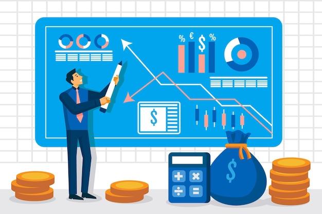 Иллюстрация анализа фондового рынка Premium векторы