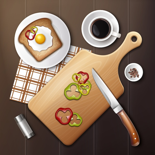 나무 테이블에 아침 식사 계란과 다진 피망 맛있는 샌드위치의 그림 프리미엄 벡터