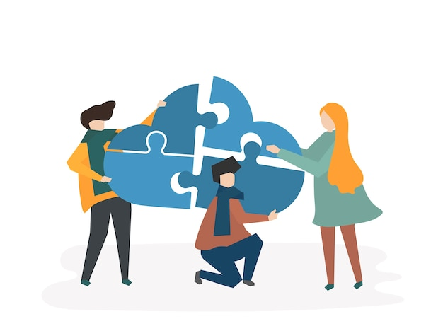 Illustration of teamwork with people connecting\ pieces of a cloud