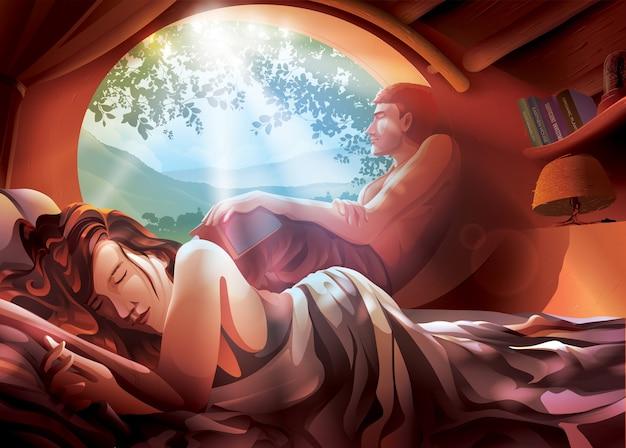 Иллюстрация пары на кровати Premium векторы