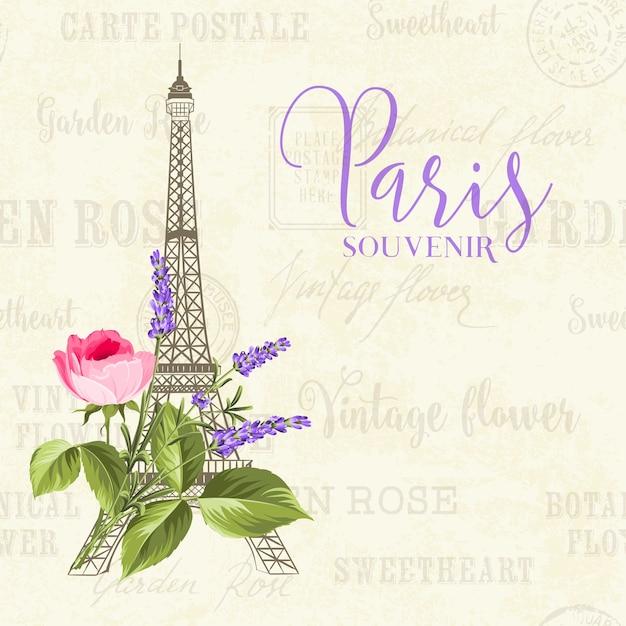 花とビンテージ背景にエッフェル塔のイラスト。 無料ベクター