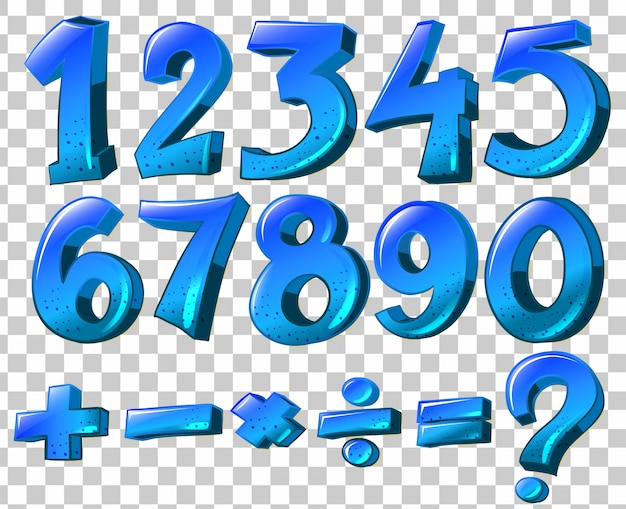 Illustration Of The Numbers And Math Symbols In Blue Color On A