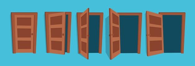 열리고 닫힌 문 그림입니다. 프리미엄 벡터