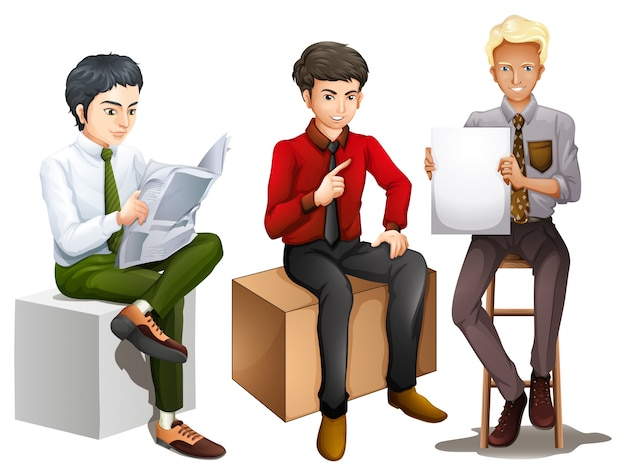 Illustration of the three men sitting down while reading  talking and  holding an empty board. Sitting Vectors  Photos and PSD files   Free Download
