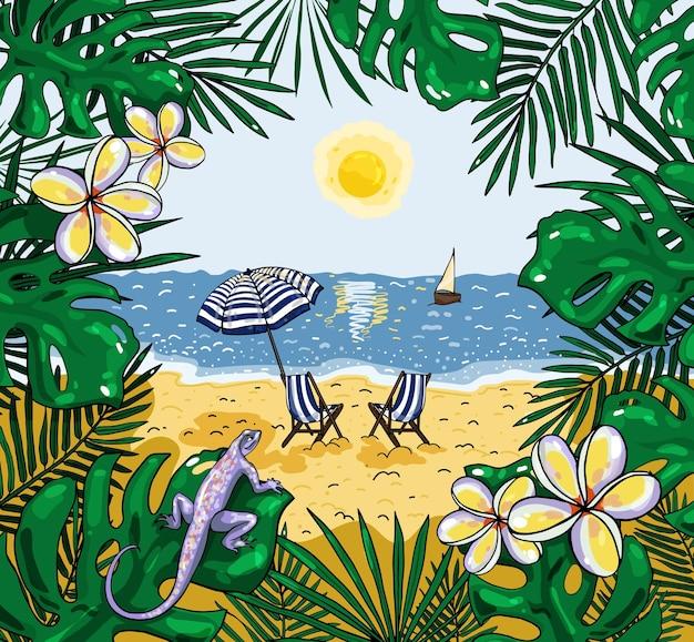 Иллюстрация вида на пляж с пляжным зонтиком и стульями Premium векторы