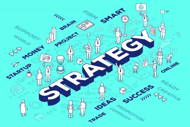 사람과 구성표와 파란색 배경에 태그 3 차원 단어 전략의 그림. 프리미엄 벡터