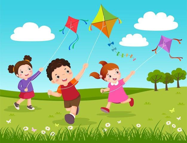 공원에서 연을 비행하는 세 아이의 그림 프리미엄 벡터