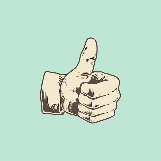 Иллюстрация большого пальца вверх значок Бесплатные векторы