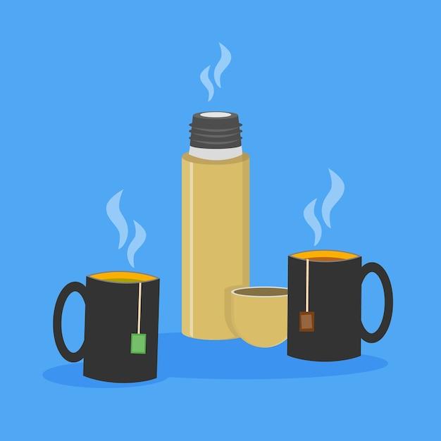 Иллюстрация двух чашек чая с чайными пакетиками внутри и открытого термоса Premium векторы